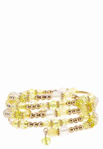 Yellow Beaded Coil Bracelet