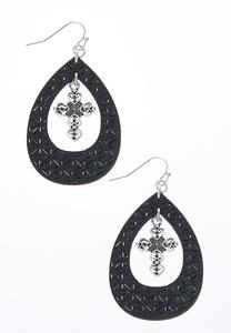 Tear Shaped Cross Charm Earrings