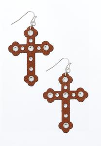 Faux Leather Cross Earrings