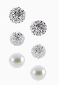 Glam Button Earring Set