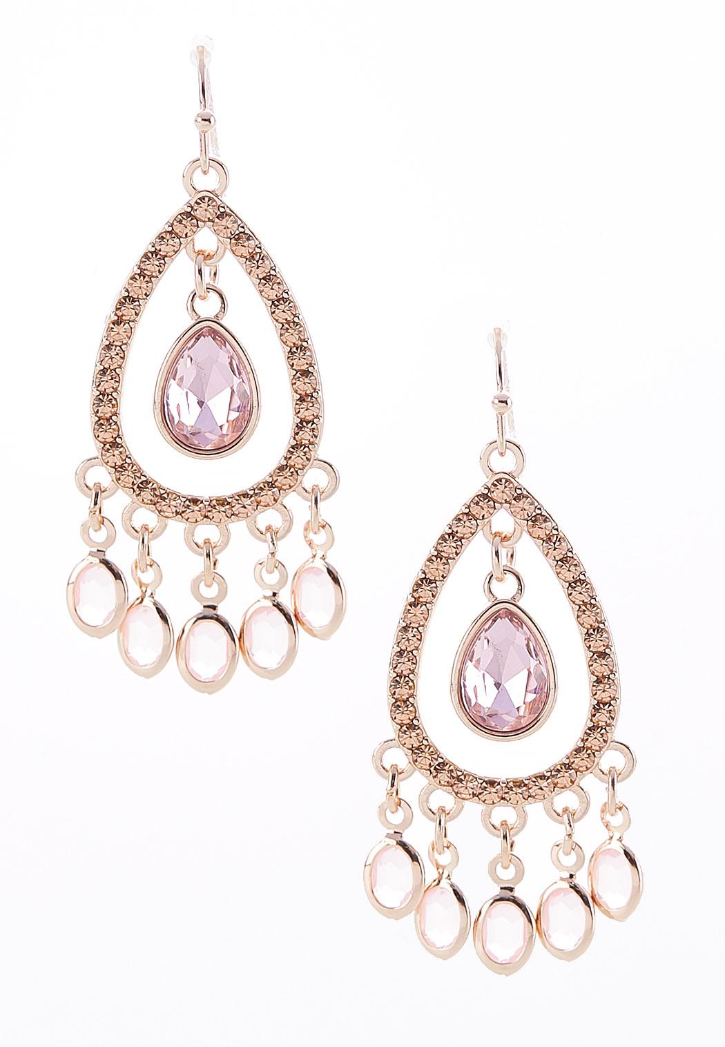 Faceted Stone Charm Earrings