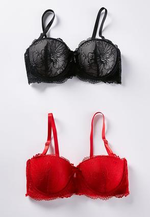 Red Black Lace Convertible Bra Set