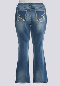 Plus Size Statement Stitch Pocket Jeans