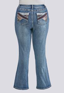 Plus Size Colorful Embellished Pocket Jeans