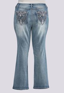 Plus Size Faded Embellished Jeans