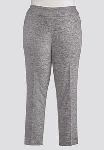 Plus Size Gray Heather Knit Pants