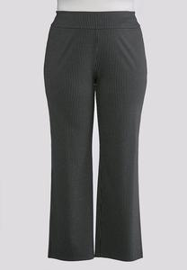 Plus Size Striped Pull-On Trouser Pants
