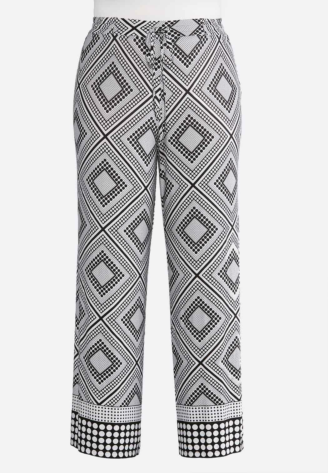 Plus Size Dotted Diamond Palazzo Pants