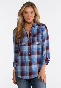 Plus Size Blue Herringbone Plaid Shirt