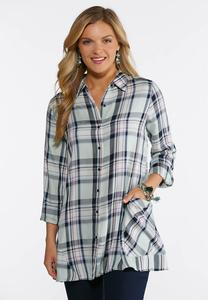 Plus Size Plaid Pocket Front Tunic