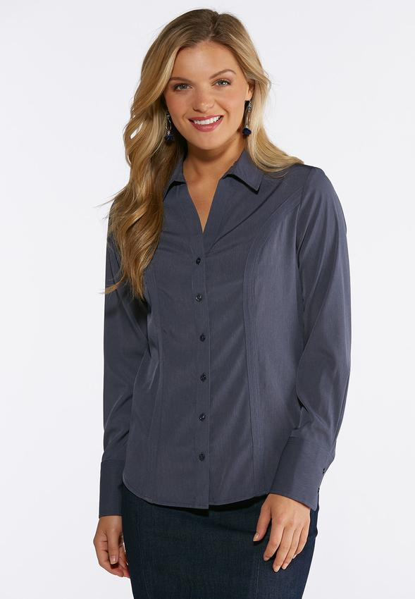 d182a4b4b4956 Solid Button Down Pleated Shirt Shirts   Blouses Cato Fashions