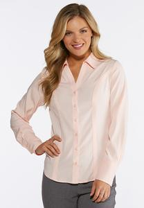 Plus Size Solid Button Down Pleated Shirt