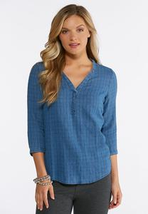Plus Size Textured Denim V-Neck Shirt