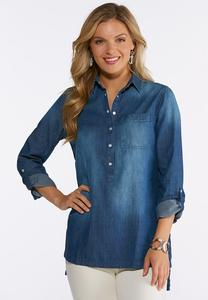 Plus Size Denim Snap Popover Shirt