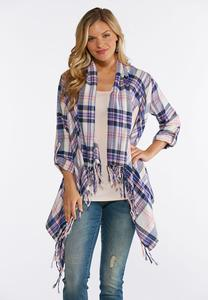 Plus Size Plaid Fringe Cardigan
