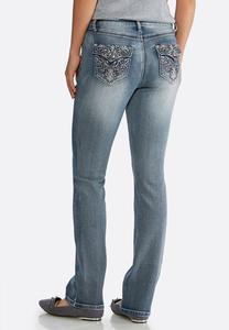 Petite Faded Embellished Jeans