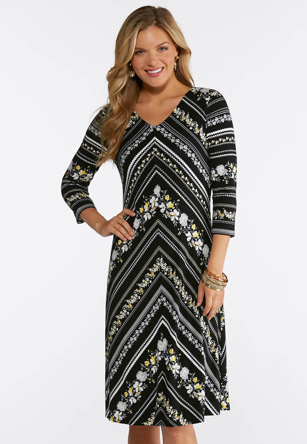 Plus Size Stretch Floral Chevron Dress A-line & Swing Cato Fashions