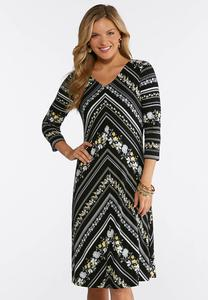 Plus Size Stretch Floral Chevron Dress
