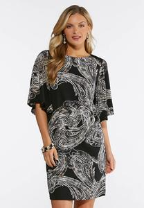 Plus Size Paisley Flare Sleeve Shift Dress