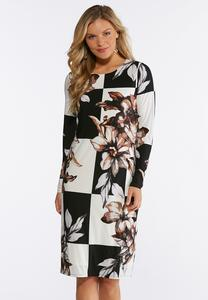 Plus Size Floral Check Print Midi Dress