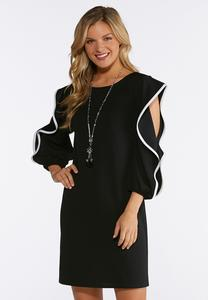Flounced Sleeve Shift Dress