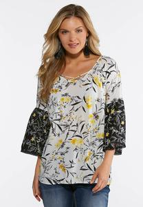 Plus Size Yellow Floral Bell Sleeve Top