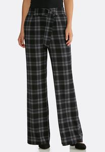 Plaid Belted Front Pants