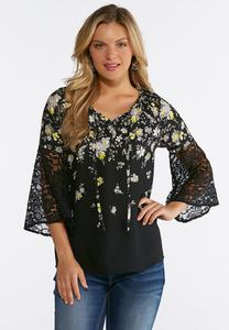 Floral Lace Sleeve Poet Top