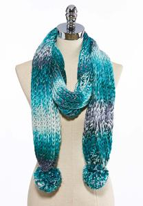 Braided Ombre Pom Knit Scarf