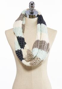 Striped Eyelash Infinity Scarf