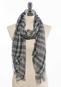 Blue Plaid Frayed Oblong Scarf