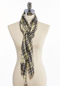 Yellow Plaid Frayed Oblong Scarf