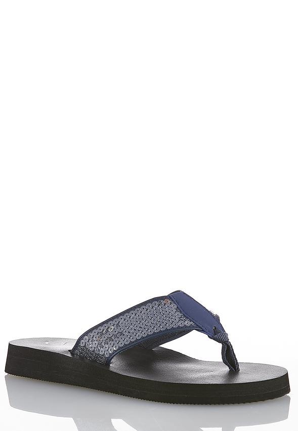 07a43edfb Sequin Platform Flip Flops Sandals Cato Fashions