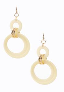 Marble Resin Circle Earrings
