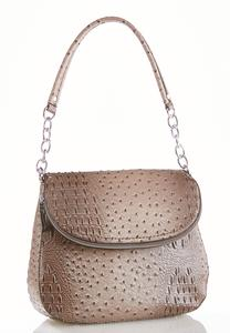 Faux Ostrich Foldover Shoulder Handbag