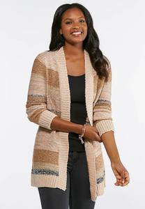 Plus Size Boucle Striped Cardigan Sweater