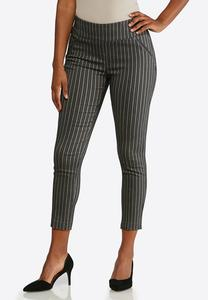 Striped Pull-On Ankle Pants