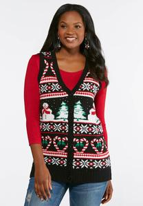 Plus Size Winter Wonderland Sweater Vest