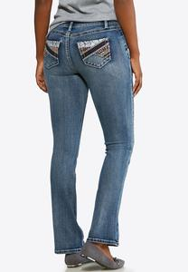 Petite Colorful Embellished Pocket Jeans