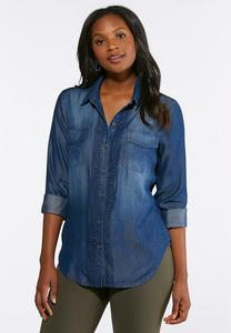 Plus Size Embellished Chambray Shirt