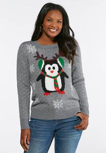 Plus Size Penguin Antler Sweater