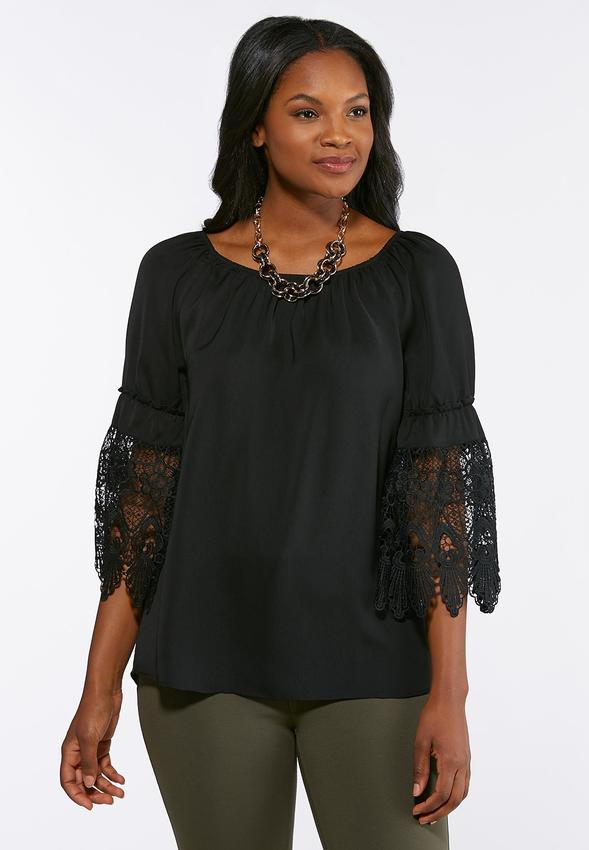 1d0fb83a34894c Lace Sleeve Convertible Poet Top Shirts & Blouses Cato Fashions
