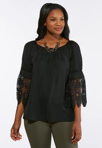 Plus Size Lace Sleeve Convertible Poet Top