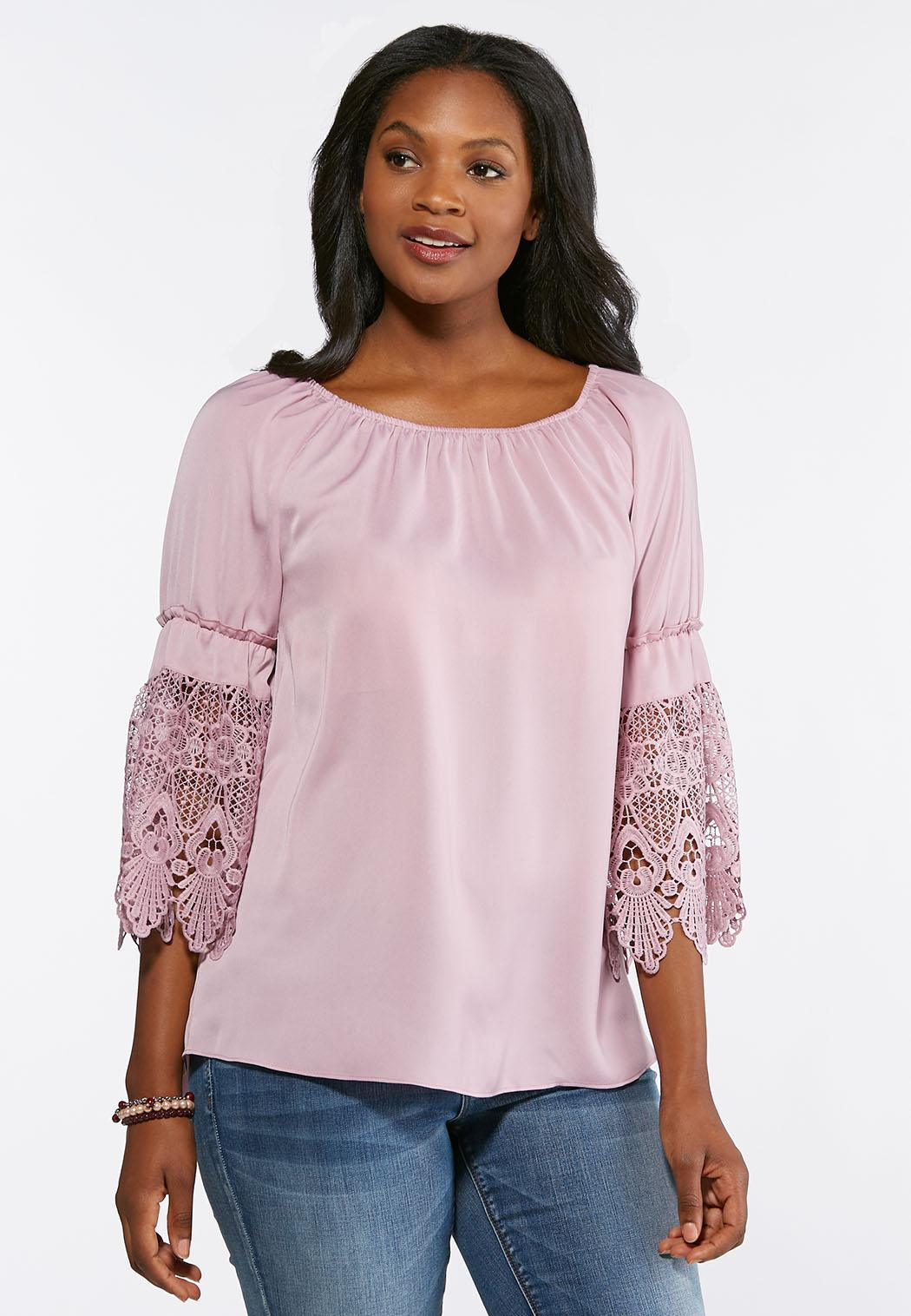 5461782046eb9 Plus Size Lace Sleeve Convertible Poet Top Shirts   Blouses Cato ...
