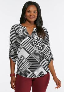 63ef97f8207 Plus Size Geo Print Pullover Top