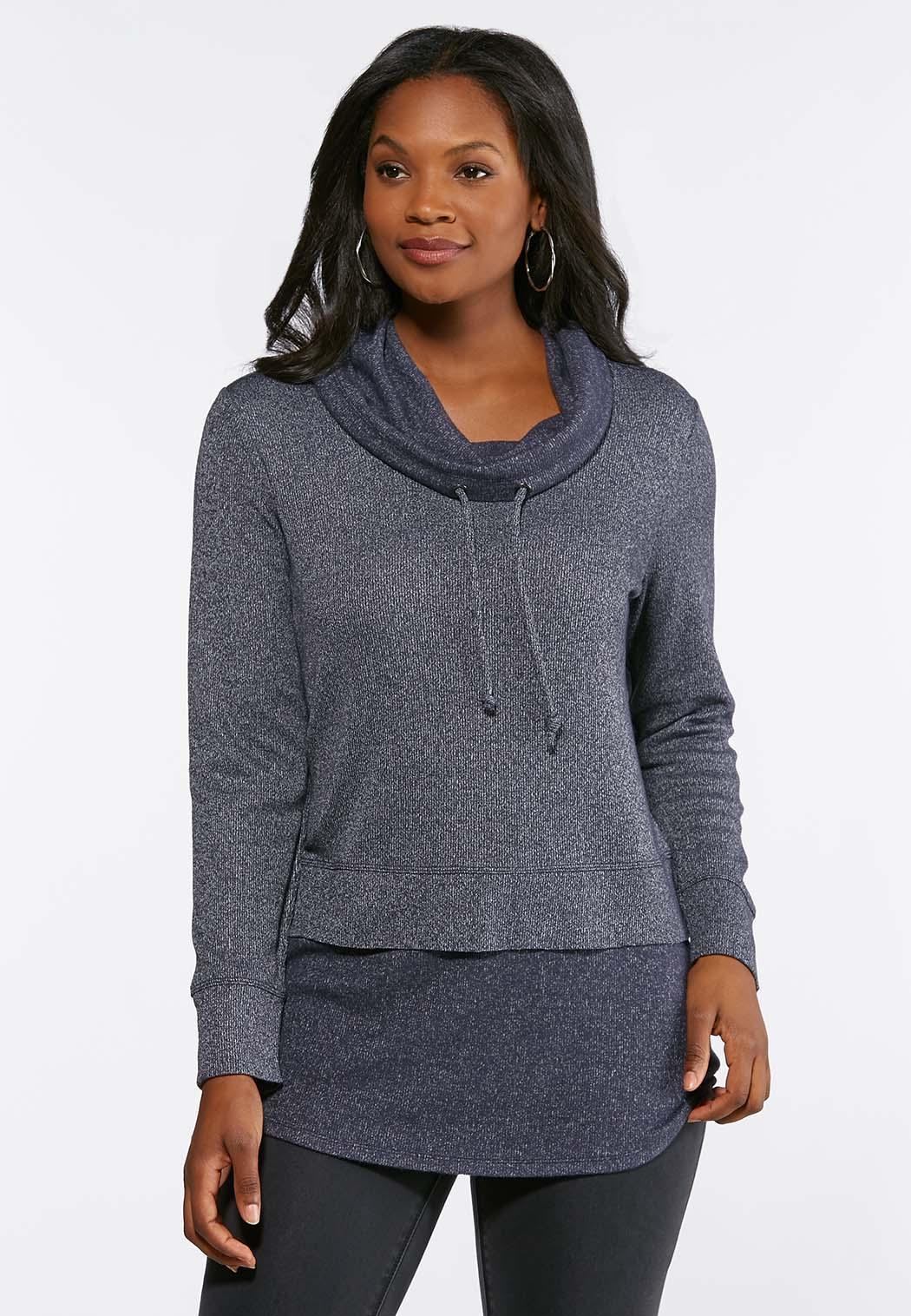 9f4c131d6 Drawstring Cowl Neck Hacci Tunic Tees   Knit Tops Cato Fashions