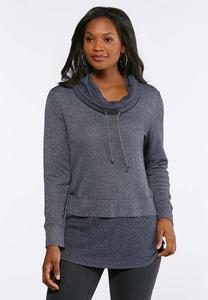 Drawstring Cowl Neck Hacci Tunic