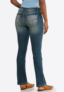 Floral Rhinestone Jeans
