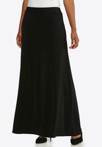 Plus Size Solid Black Maxi Skirt