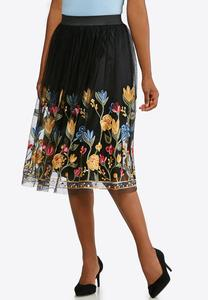 Plus Size Mesh Floral Embroidered Skirt